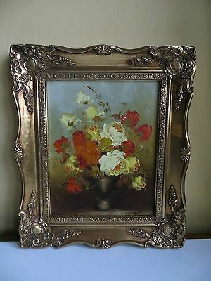 Antique Style Framed Picture Still Life Flowers Oil Painting on Canvas Signed