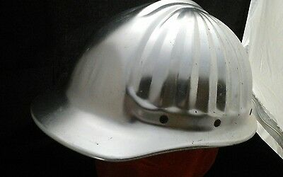 Vintage aluminum hard hat American Optical Dura-Guard clamshell Adj. suspension