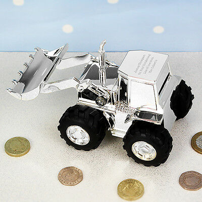 Personalised Engraved Digger Money Box Christening Baptism Gift For Boys