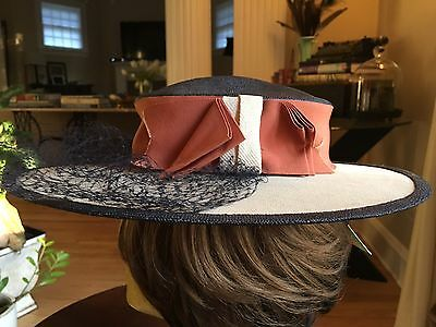 Vintage Wide Brim Hat With Ribbon Netting