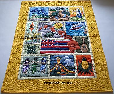 Hawaiian STYLE QUILT BABY BLANKET hand quilted wall hanging/machine appliquéd