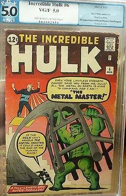 Incredible Hulk 6 Marvel Silver Age PGX 5.0 Unrestored 1963 cgc