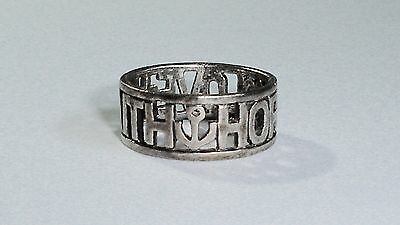 Vintage 925 Sterling Silver Love, Faith, Hope Wide Band w/Heart, Anchor, Cross