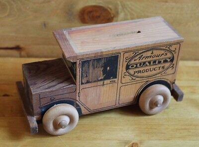 Armour's Quality Products Coin Bank - Wooden Truck