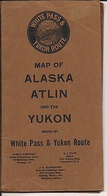 WHITE PASS YUKON ROUTE VINATGE MAP ALASKA ATLIN & YUKON FOLDOUT DISTANCES c 1917