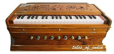 Indian Harmonium ~9 Stopper~3 1/2 Octave~Teak Wood~7 Fold Bellow~Double Reed