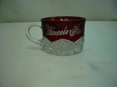 "EAPG Ruby Stained Souvenir Cup - Duncan & Miller ""Button Arches"" c;1897"