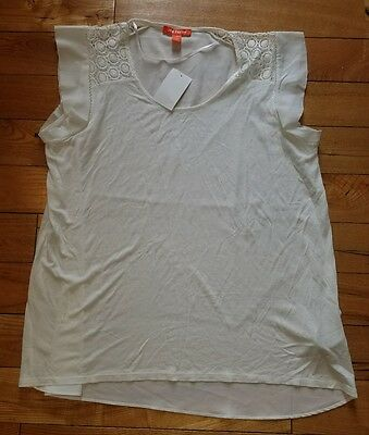 NWT Womens White JOE FRESH Nordstrom S/S Crotchet Rayon Blouse Size Large L