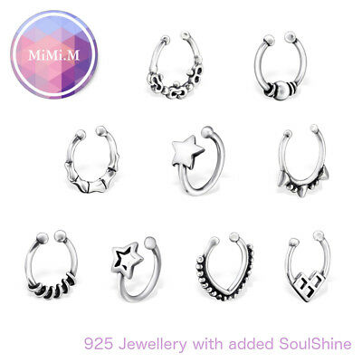 925 Sterling Silver Fake Septum Nose Ring Lip Ear Cuff Clip on Daith Hanger
