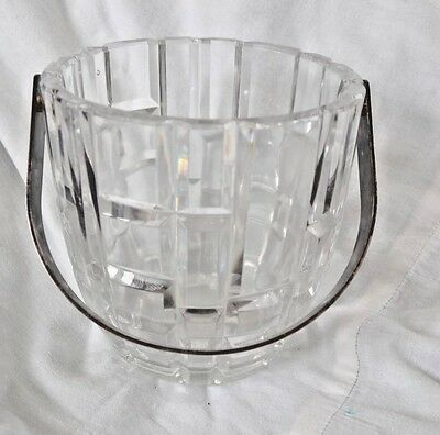 """Vintage Ice Bucket Deco Style Pressed Glass Silverplate Handle 5.5"""" Tall"""