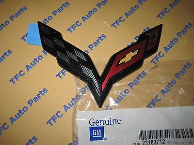 Chevy Corvette C7 Rear Bumper Emblem Carbon Flash OEM Genuine GM New  2014-2017