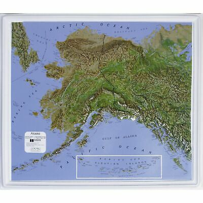 Alaska State Raised Relief Map Natural Color Relief Style