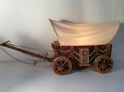 Western Covered Realistic Look Conestoga Wooden Wagon Lamp