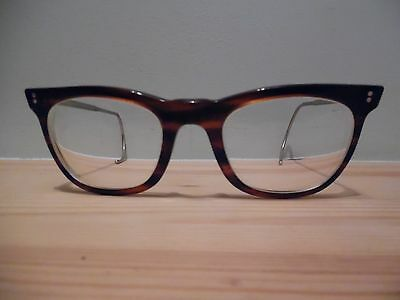 Vintage Tortoise Geek Style Eye Glasses with Coiled Metal Arms DS MW 170 46 22