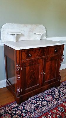 Antique Victorian Marble Top Commode or Wash Stand, with Key