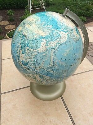 "Vintage 12"" Rand McNally World Portrait Metal Base Raised Topography Globe USSR"