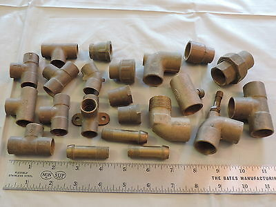 "22pc brass Plumbing Pipe Fittings 1/2""-3/4"" etc Parts Water Gas Steampunk"