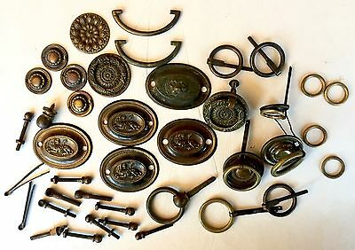 LOT Antique Brass Handles Drawer Pulls Cupboard Old Hardware Lions