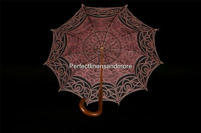 Pink Battenburg Lace Parasol with curved Handle