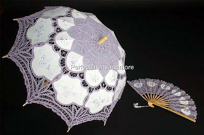 Handmade Lilac Lace Parasol and Lace fan set