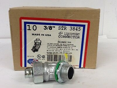 "QTY 10 New American Fittings Corp, STR3845 Liquidtight Connector, 3/8"" 45 Degree"