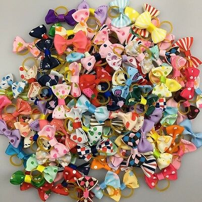 Assorted Pet Hair Bows Rubber Band Dogs Cat Puppy Headdress Grooming Accessories