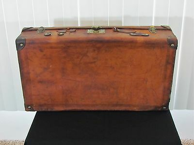 Antique Leather Suitcase Early 1900s