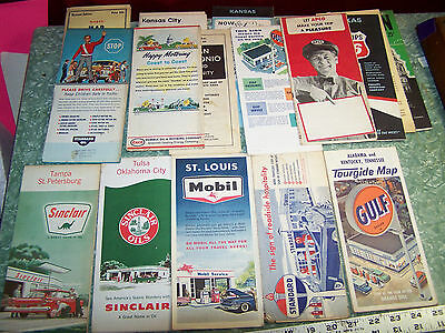 Vintage Gas Station Road Maps Lot 16 Mobile Gulf Sinclair others