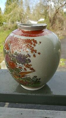 Antique Satsuki  Peacock Vase crackle glazed Exc. condition Rare 1930's