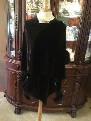Evening Velvet Cape Jacket Feathers Black Osfm Classic Formal Runway