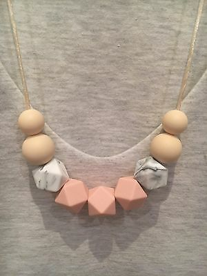 Silicone Sensory (was teething) Necklace for Mum Jewellery Beads Aus Gift Pink