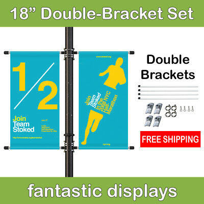 """18"""" Double Street Pole Banner Mounting Kit for Hemmed Banners with Pole Pockets"""