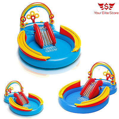 Inflatable Waterpark Play Center Kids Slide Outdoor Swimming Pool Ring Toy Intex