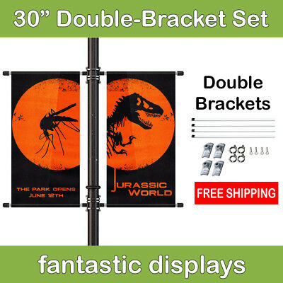 """30"""" Double Street Pole Banner Mounting Kit for Hemmed Banners with Pole Pockets"""