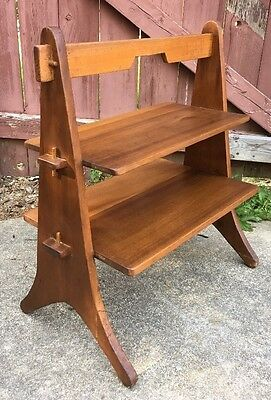 Mid Century Danish Modern Solid Teak? Wood Hand Made 2 Tier Table Shelf Vintage