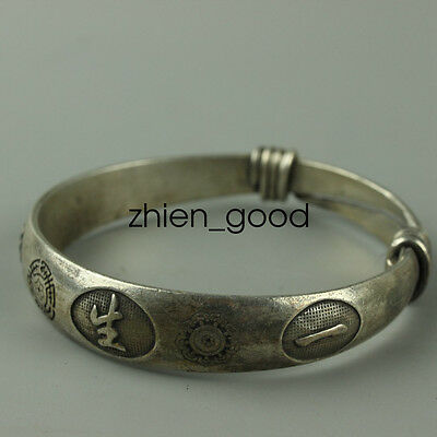 Old Hand-carved Tibet Tibetan silver bracelet Peace CZQQ71