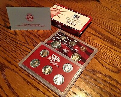 2001 United States  Mint Silver Proof Set 10 coins and COA