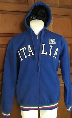 Italia Unlimited Blue Embroidered Logo Hoodie Full Zip Jacket Sweater Size 3XL