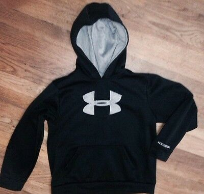 Unisex UNDER ARMOUR  Youth L BLACK Gray Classic UA Style Logo Pullover Hoodie