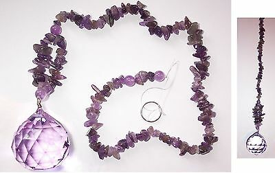 40mm PURPLE CRYSTAL SPHERE with Amethyst Tail FENGSHUI