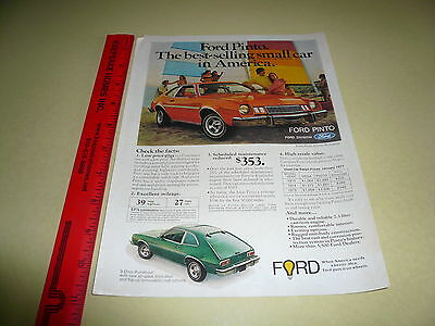 1975 Ford Pinto Ad Advertisement Vintage