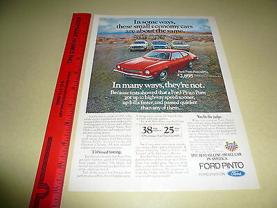 1976 Ford Pinto Ad Advertisement Vintage