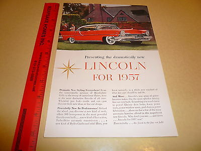1957 Lincoln Ad Advertisement Vintage