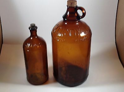 Vintage Amber Glass Clorox 1/2 Gallon and 16 oz Bottles with Lids