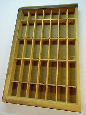 Vintage Typeset Drawer Shadow Box Wooden Display Printer Letter Tray 35 Slots