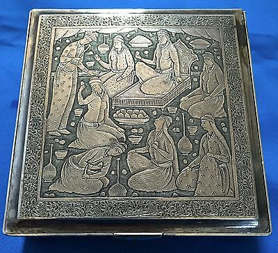 Fa-0248- Persian Hand Chased Silver Box Art Work From Isfanhan 1900-1950S All Ha