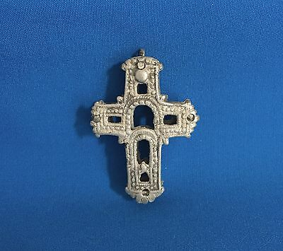 Fa-0155- Late Silver Byzantine Double Sided Cross Circa 12-14Th Century A.d.
