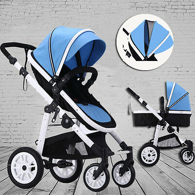 New 3 In 1 Khaki Baby Toddler Pram Stroller Jogger With Bassinet Kids Pushchair