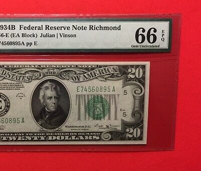 1934 B -Federal Reserve Note $20 Graded By Pmg Gem Unc 66 Epq.