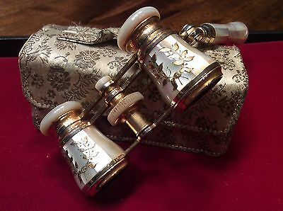 Vintage Gilt Mother Of Pearl Opera Glasses with Lorgnettes & Original Silk Case
